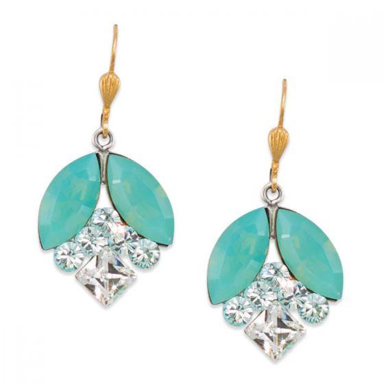 Catherine Popesco Multi Shape Drop Crystal Earrings - Pacific Opal