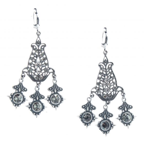 Catherine Popesco Crystal Chandelier Earrings - Silver & Black Diamond