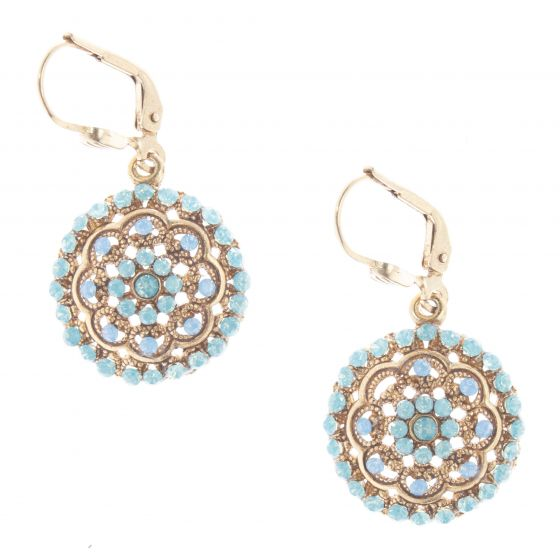 Catherine Popesco Round Crystal Flower Earrings - Pacific Opal