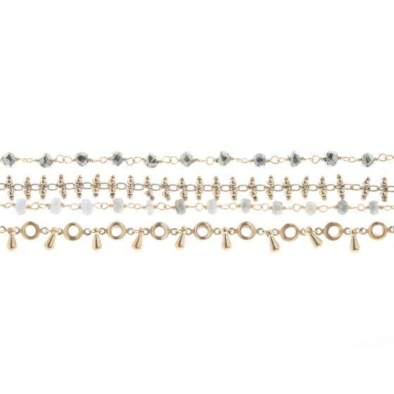 Catherine Popesco Semi Precious Stone 4 Layer Chain Bracelet