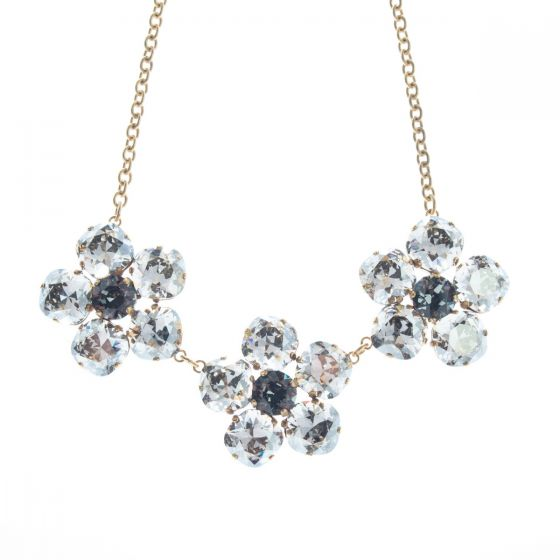 Catherine Popesco Triple Crystal Flower Pendant Necklace