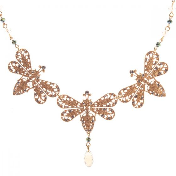 Catherine Popesco Triple Filigree Bee Crystal Necklace - Black Diamond
