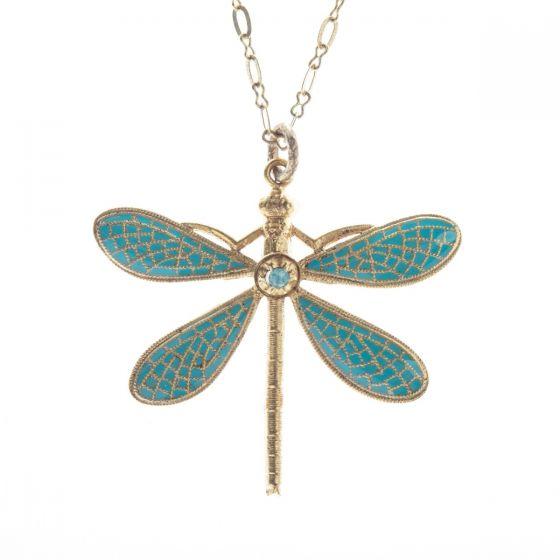 Catherine Popesco Turquoise French Enamel Dragonfly Pendant Necklace