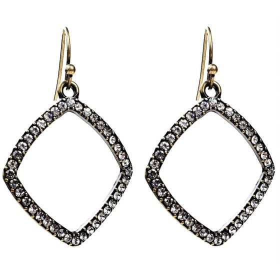 Sweet Lola Earrings - Antique Bronze Diamond Hoop with Clear Crystals