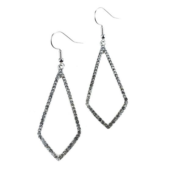 Sweet Lola Earrings - Bright Silver Diamond Shape Hoop with Clear Crystals
