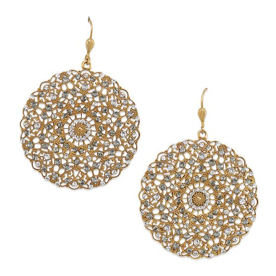 Catherine Popesco Large Lacy Crystal and Gold Round Earrings