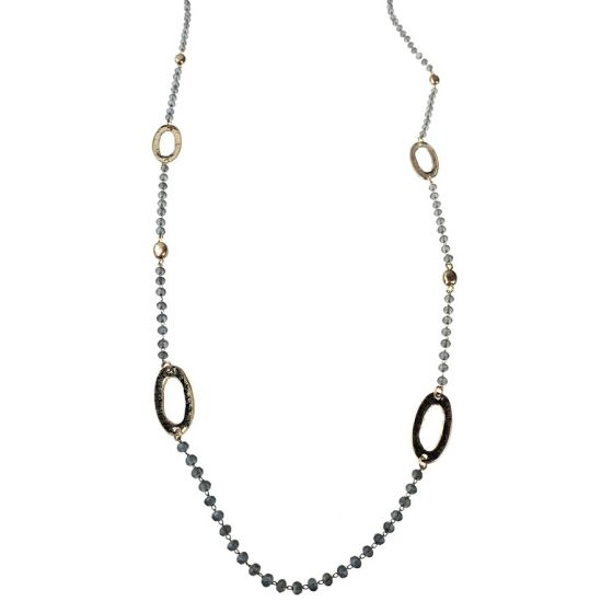 Sweet Lola Necklace - Matte Grey Beads with Gold Oval Links - 40""