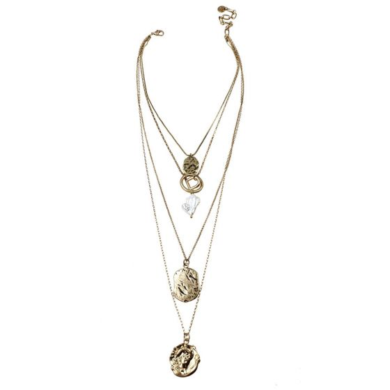 Sweet Lola Necklace - 4 Row Gold Chain with Charms & Fresh Water Pearl