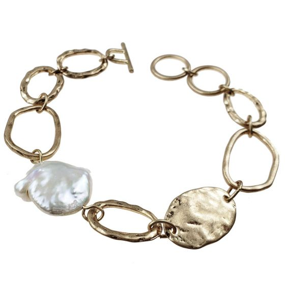 Sweet Lola Bracelet - Gold Links with Fresh Water Pearl