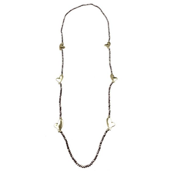 """Sweet Lola Necklace - Lavender Beads with Gold Hearts - 38"""""""