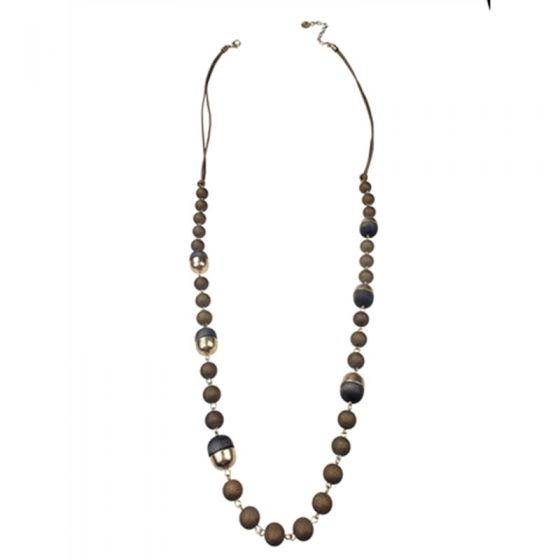 Sweet Lola Necklace - Taupe Leather with Wood & Gold Balls - 40""