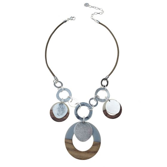 Sweet Lola Necklace - Taupe Leather with Wood/Resin Circles & Silver Discs