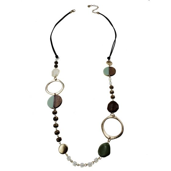 Sweet Lola Necklace - Brown Leather with Wood/Resin Discs & Gold Circles - 40""