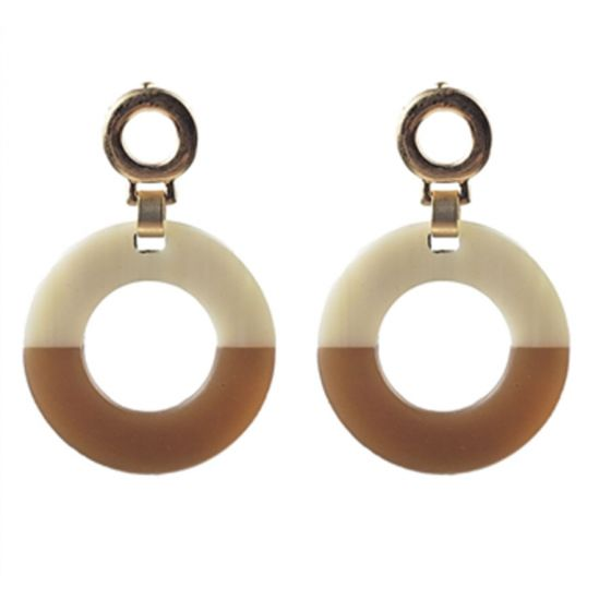 Sweet Lola Earrings - Resin & Wood Hoop on Gold Posts