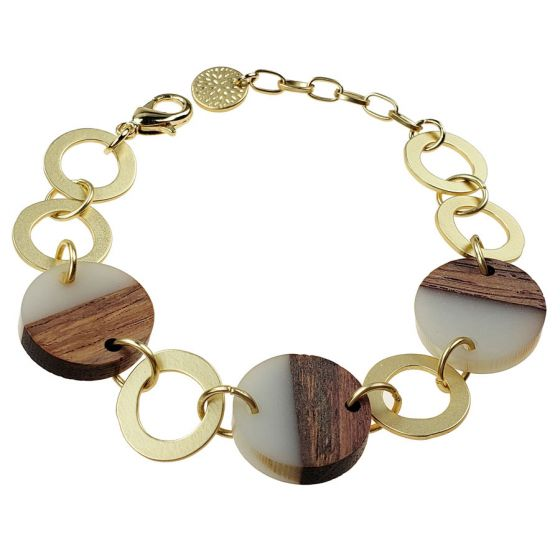 Sweet Lola Bracelet - Light Grey Resin & Wood Circles with Gold Links