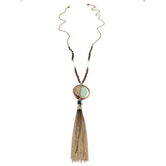 Sweet Lola Necklace - Wood/Resin Disc & Gold Circle with Gold Tassel & Beads