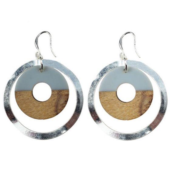 Sweet Lola Earrings - Resin/Wood Circles with Silver Hoops