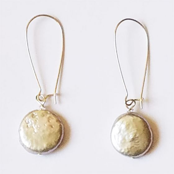 Sweet Lola Earrings - Freshwater Coin Pearls on Long Silver Hooks