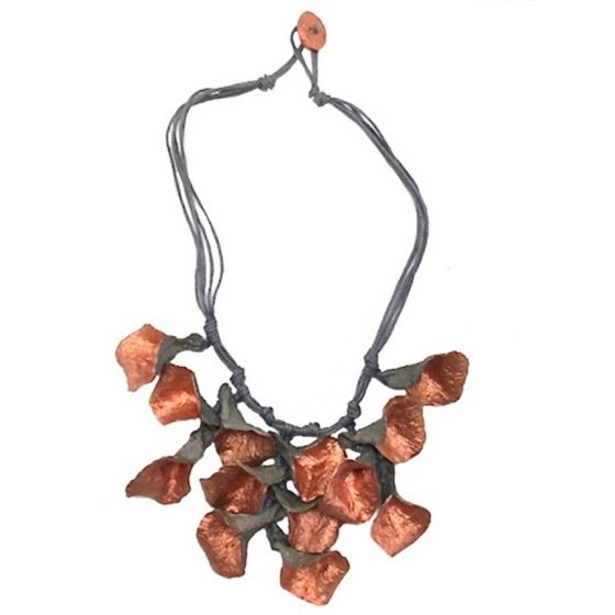 Sweet Lola Necklace - Handmade Recycled Paper Flowers in Copper