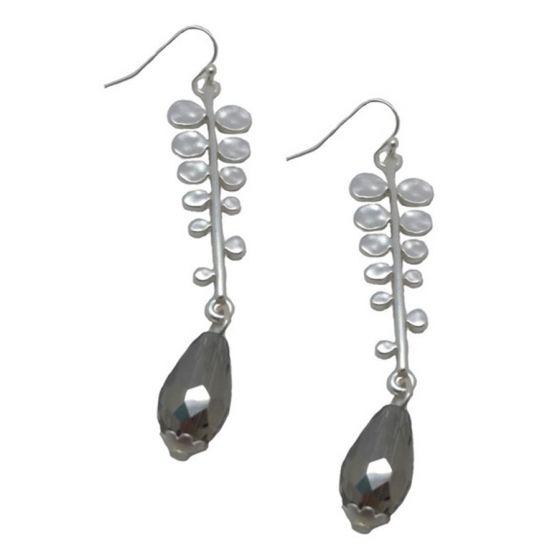 Sweet Lola Earrings - Matte Silver Leaf with Crystal Teardrop