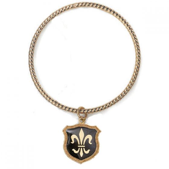 Fleur-de-Lis Enamel Charm Bangle - Black or Turquoise
