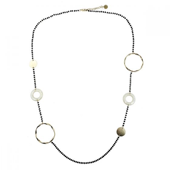 """Sweet Lola Necklace - Black Beads with Gold and White Resin Circles - 40"""""""