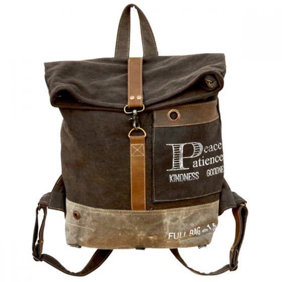 Peace Patience Kindness Goodness Canvas & Leather Large Backpack by Clea Ray