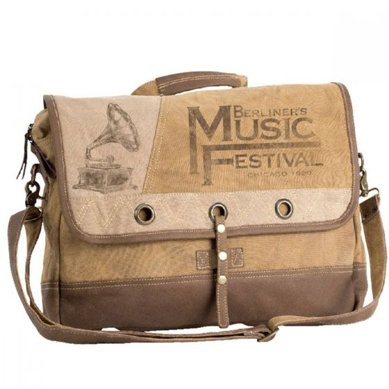 Music Festival Canvas & Leather Large Cross Body Messenger/Tote Bag by Clea Ray