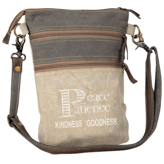 Peace Patience Kindness Goodness Canvas & Leather Cross Body Bag Purse by Clea Ray