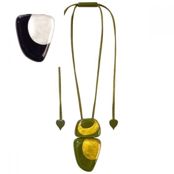 ZSISKA Handmade Designer Pendant Necklace - Artisan Black & Silver