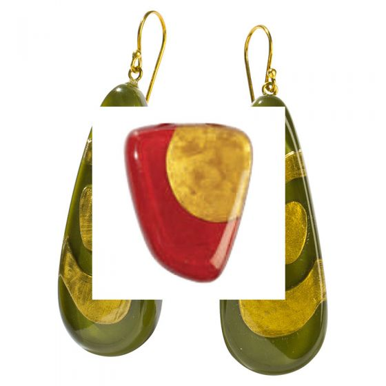 ZSISKA Handmade Designer Earrings - Artisan Red & Gold