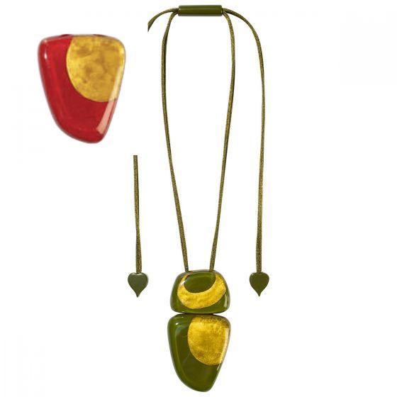 ZSISKA Handmade Designer Pendant Necklace - Artisan Red & Gold