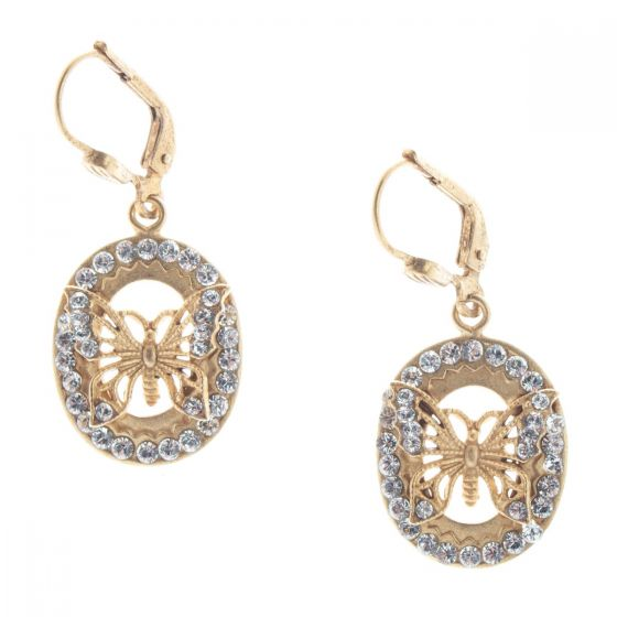Catherine Popesco Oval Crystal Rhinestone Butterfly Earrings - Assorted Colors