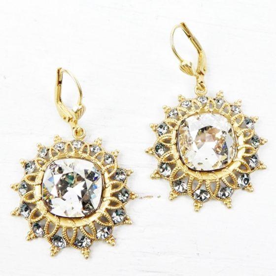 Catherine Popesco Shade & Gold Starburst Crystal Earrings
