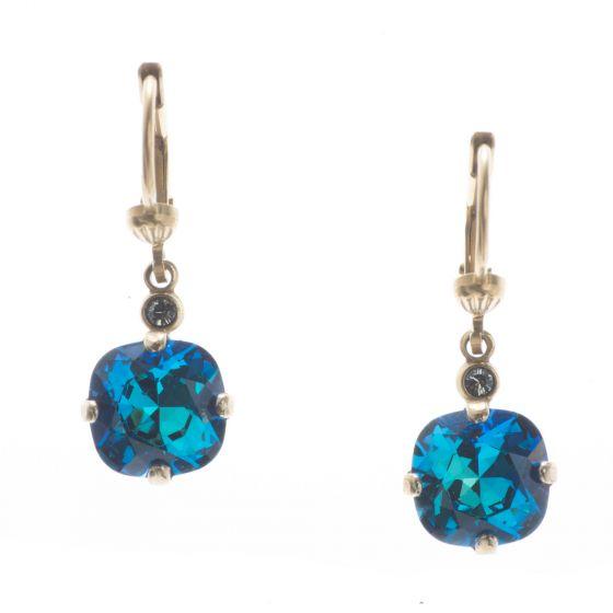Sweet! Petite Catherine Popesco 8mm Crystal Dangle Earrings - Bermuda