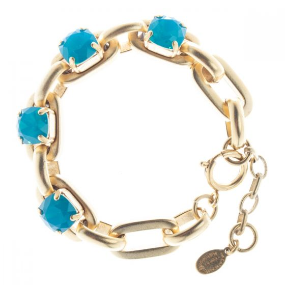 Catherine Popesco Heavy Link 4 Stone Crystal Bracelet - Assorted Colors