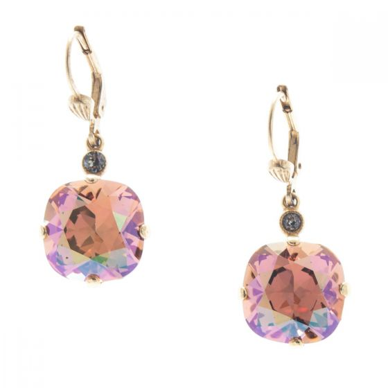 Catherine Popesco 12mm Large Stone Crystal Earrings - Brandy