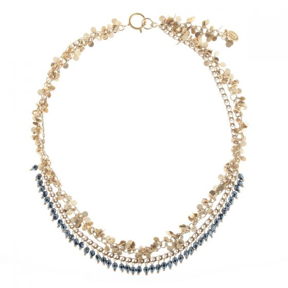 Catherine Popesco Beaded & Fringe Gold Necklace - Jet Hematite