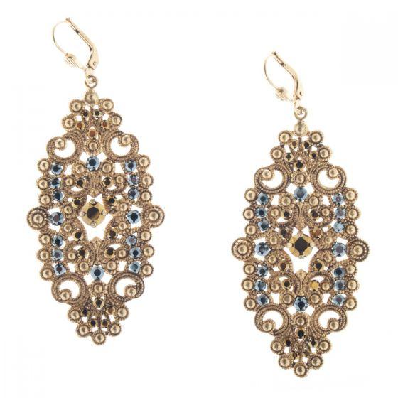 Catherine Popesco Large Gold Oblong Filigree Crystal Earrings - Hematite
