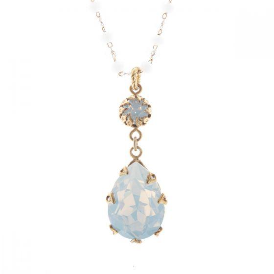 Catherine Popesco White Opal Crystal Teardrop Pendant Beaded Necklace