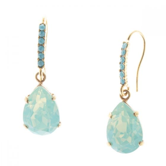 Catherine Popesco Sea Opal Teardrop Crystal Earrings with Rhinestone Fish Hook