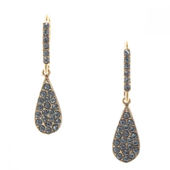Catherine Popesco Black Diamond Teardrop Crystal Earrings with Rhinestone Fish Hook