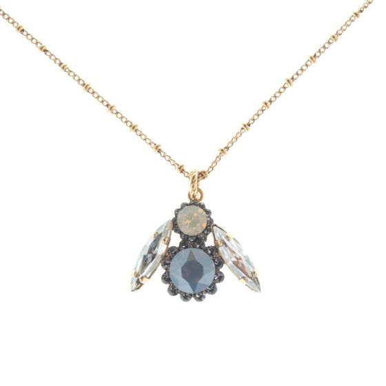 Catherine Popesco Crystal Bee Pendant Necklace - Sand Opal