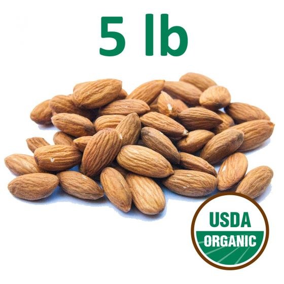 Certified Organic Unpasteurized Almonds - 5 Pounds - Fresh - Free Shipping!