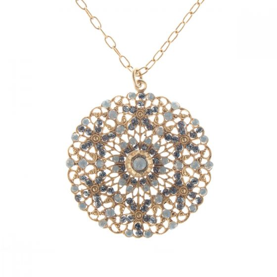 Catherine Popesco Filigree Crystal Medallion Pendant Necklace - Sand Opal