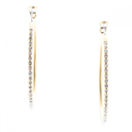 Catherine Popesco Large Hoop Crystal Earrings - Gold or Silver