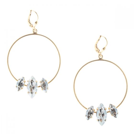 Catherine Popesco Triple Marquise Hoop Earrings - Assorted Colors