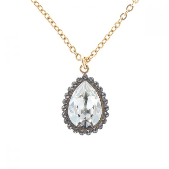 Catherine Popesco Crystal Teardrop with Rhinestones Pendant Necklace