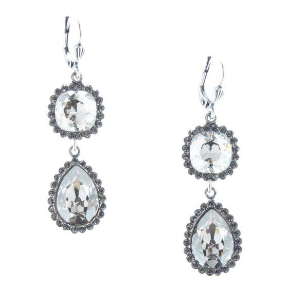 Catherine Popesco Double Stone Teardrop Crystal Earrings - Assort Colors