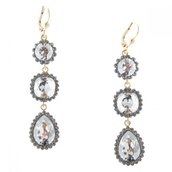 Catherine Popesco Triple Stone Teardrop Crystal Earrings - Assort Colors